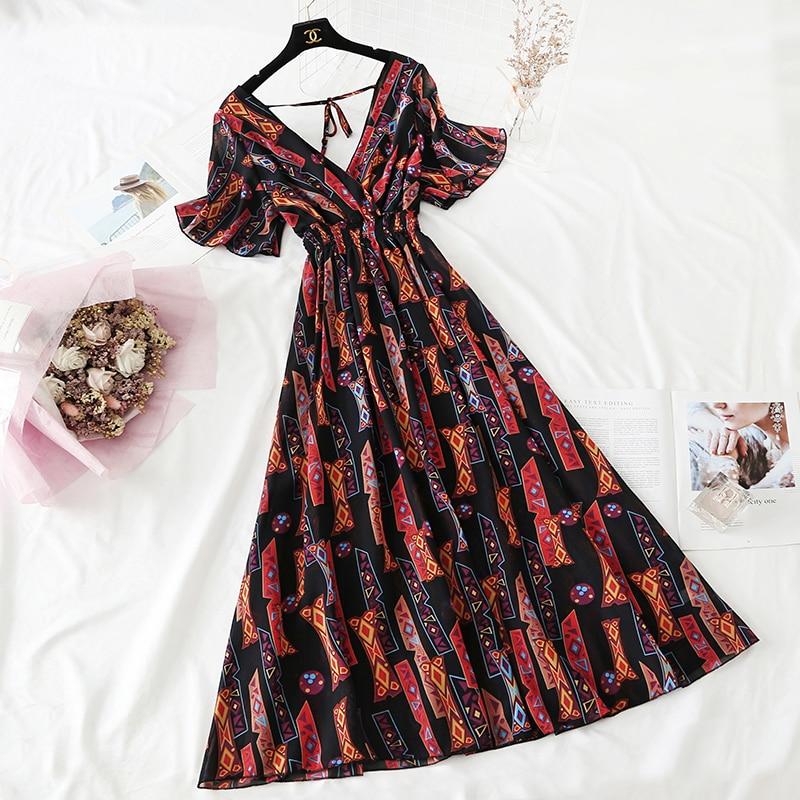 Summer Fairy Dress Women French Style Vintage Retro Chiffon Dress Short sleeve Casual Elegant Floral Print Dress Women 2021 New 24