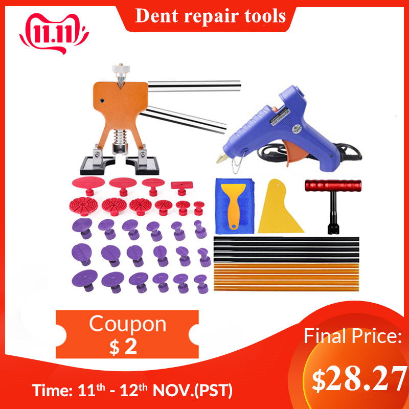 PDR Tools Professional Dent Repair Lifter Car Body Dent Removal Kit Glue Gun And Sticks Paintless Dent Repair T-bar Puller