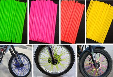 72Pcs Motorcycle Dirt Bike Wheel Rim Spoke Skins Covers Wrap Tubes Decor Protector Kit Motorcycle Protection Car Styling 8 Color