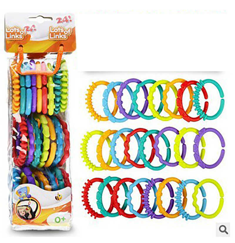 24 pieces / set of teeth rubber ring baby teether toy crib bed cart hanging rattle toy ornaments education gift doll
