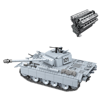 990Pcs Simulation V12 Engine Panther Tank ww2 Swat Small Particle Building Block Toy Kit for 100% Building Block Brands