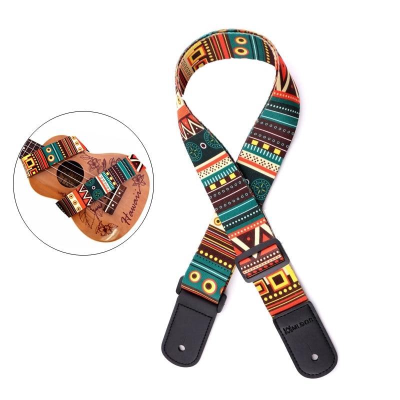 Adjustable Printing National Style Ukulele Straps With Soft PU Leather Head