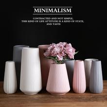 Керамическая ваза в скандинавском стиле, современный минималистичный белый розовый серый орнамент, ваза для цветов, аранжировщик домашних ВАЗ, корзина для цветов, декоративные вазы