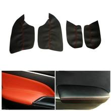 4PCS Car Interior Microfiber Leather Door Panel Armrest Cover Protective Trim For Mitsubishi ASX 2013 2014 2015 2016 накладка заднего бампера mitsubishi mz576692ex для mitsubishi asx 2016