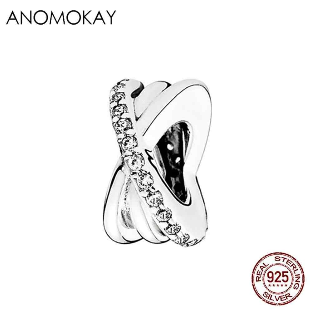 Anomokay 100% スターリング 925 シルバーキューブスターリング DIY チャームフィットパンドラブレスレットヨーロッパアメリカの本物の 925 シルバービーズジュエリー
