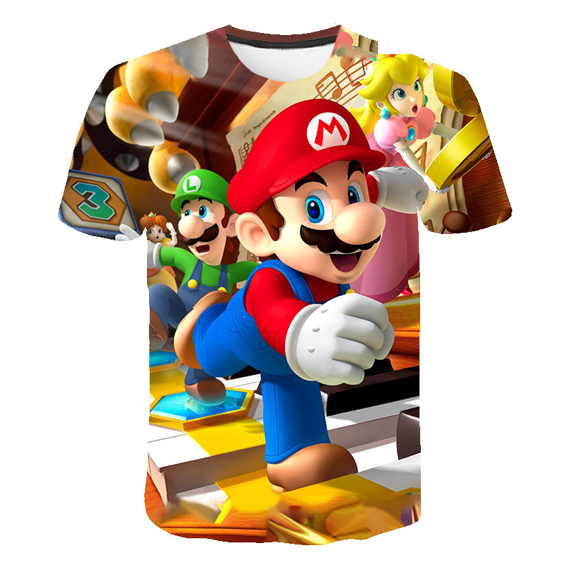 4-14T Boy T Shirt SuperMario Print Clothes Girls 3D Polyester Funny T-Shirts Costume Children 2021 Summer Clothing Kids Baby Tee