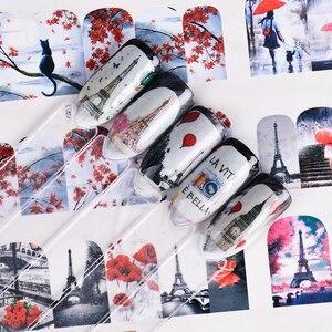 Image 3 - 12 projetos de água arte do prego transferência adesivo sliders bordo vermelho romântico desenhos dos namorados decalque manicure decorações JIBN373 384