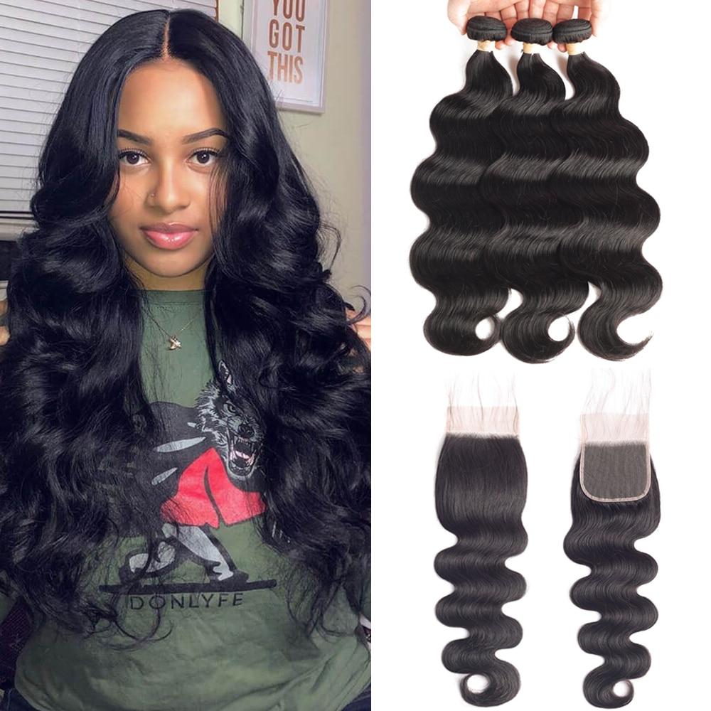 Sapphire Hair Brazilian Hair Weave Bundles With Closure Bundle With Lace Closure  Human Hair Body Wave Bundles With Closure