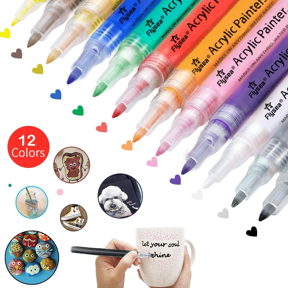 12 Colors Permanent Acrylic Paint Markers Pen Set Kids Drawing Stationery