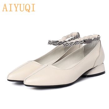 AIYUQI Luxury Shoes 2020 Spring Genuine Leather Shoes Women Formale Large Size 41 42 43 Nurse Shoes Women