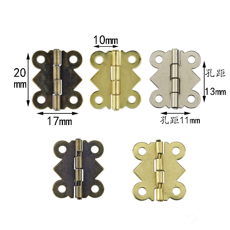 10pcs Mini Butterfly Door Hinges 20mm x17mm Bronze Cabinet Drawer Jewellery Box Decorate Hinge For Furniture Hardware