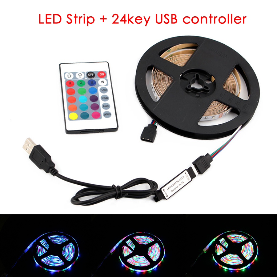 1M 2M 3M 4M 5M DC 5V RGB LED Strip 2835 USB 5 V For TV Backlight 2835 Lighting Lamp Tape Diode Ribbon 24Key USB Controller