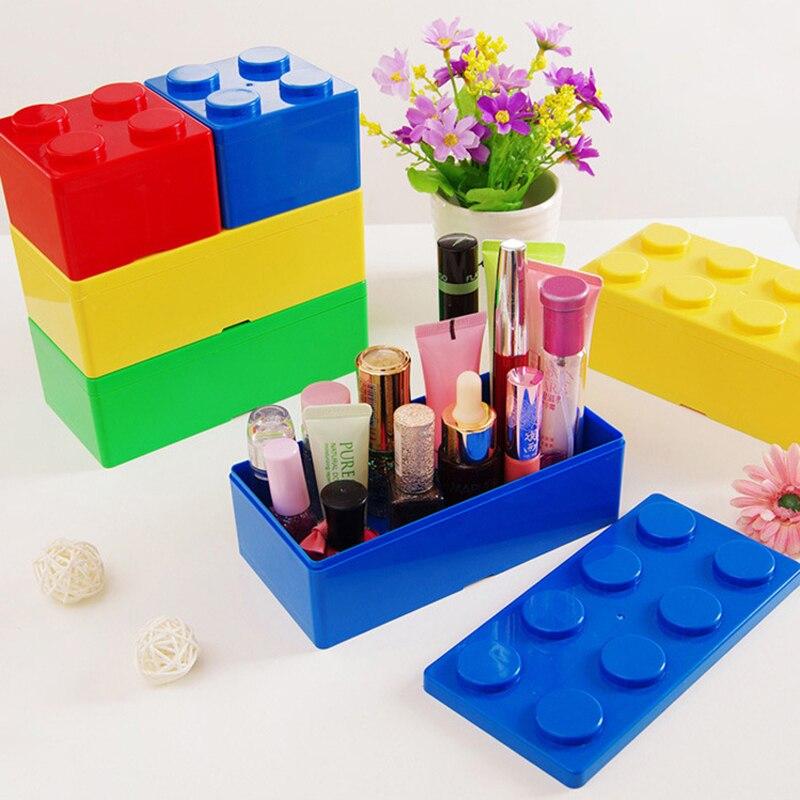 Caixa de armazenamento criativo formas bloco de construção caixa de espaço de poupança de plástico sobreposto desktop acessível escritório casa mantendo armazenamento