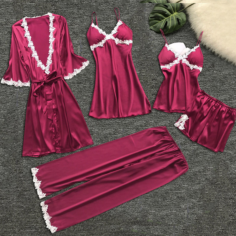 Women V-neck Nightdress Summer Babydolls Nightgown Sleepwear Sexy Lingerie Ladies Bathrobe Lace Multi -Piece Set Of Sexy Pajamas 1