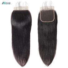 Allove fechamento brasileiro do laço do cabelo reto livre meio três parte 4x4 fechamento do laço não remy cabelo humano fechamento do laço suíço 1pc