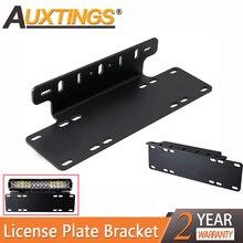 Auxtings 15INCH Stainless Steel Bull Bar Front Bumper License Plate Mount Bar led Light Bar bracket Holder Kit For Offroad ATV