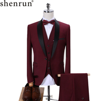 Shenrun Men Tuxedo Slim Fit Fashion Suit Wedding Shawl Lapel 3 Pieces Skinny Single Breasted Jacket Party Prom Singer Costume