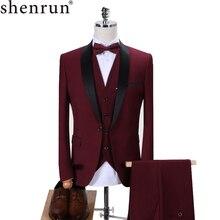 Shenrun גברים טוקסידו Slim Fit אופנה חליפת חתונת צעיף דש 3 חתיכות סקיני יחיד רכיסה מעיל מסיבת נשף זינגר תלבושות