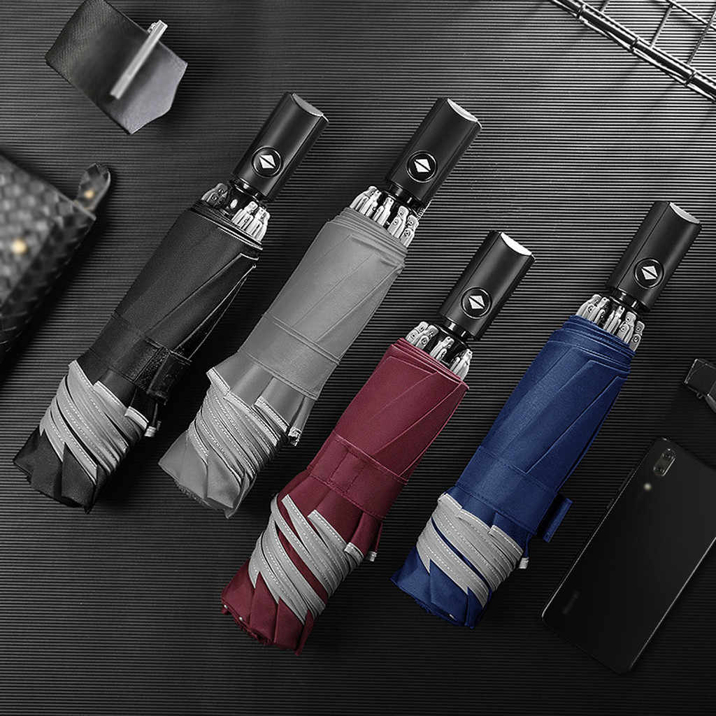 Parapluie automatique inversé pliant Business parapluie avec bandes réfléchissantes parapluies pluie pour hommes femmes noir revêtement 2020