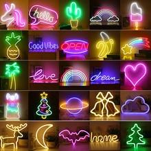 90 Styles LED Neon Night Light Sign Wall Art Sign Night Lamp Xmas Birthday Gift Wedding Party Wall Hanging Neon Lamp Room Decor