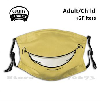 Funny Face Mask Diy Adult Kids Face Mask Funny Face Smile Teeth Gnash Teeth Yellow Background Safety Laugh image