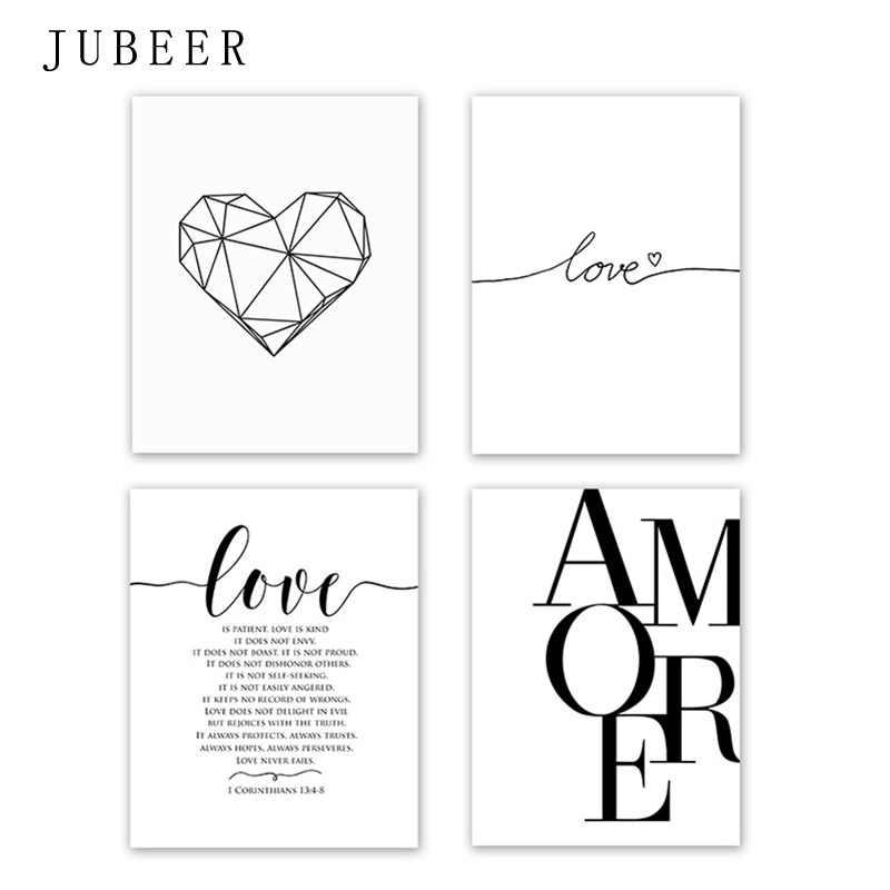 Skandinavischen Stil Liebe Poster Schwarz und Weiß Leinwand Malerei Amore Wand Bilder Für Wohnzimmer Nordic Dekoration Home Kunst
