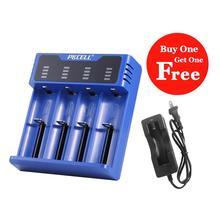 Carregador de bateria pkcell para 1 4pcs18650 26650 21700 aa aaa 18350 v/3.7v/3.2v/1.2v/1.5v lítio nimh bateria carregador inteligente usb 4slot