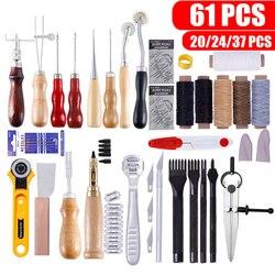 61 Uds. Kit de herramientas artesanales de cuero Kit de herramientas de coser a mano punzón para tallar trabajo sillín profesional de artesanía de cuero