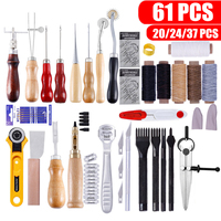 61Pcs Leather Craft Tools Set Hand Sewing Tool Kit Stitching Punch Carving Work Saddle Professional Leathercraft Set