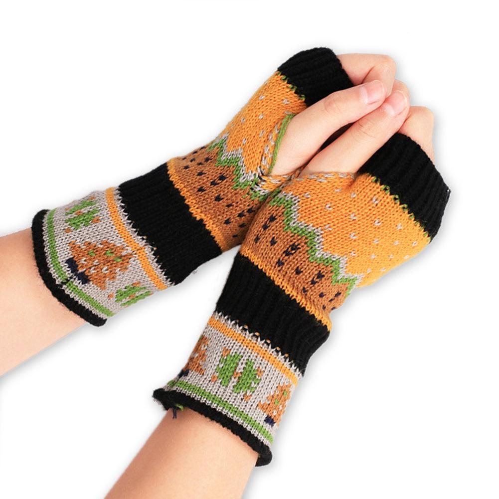 Colorful Women Fingerless Gloves Knitted Warm Long Mitten Wrist Gloves Warmer Xmas Gift Printed Handschoenen Guantes Invierno