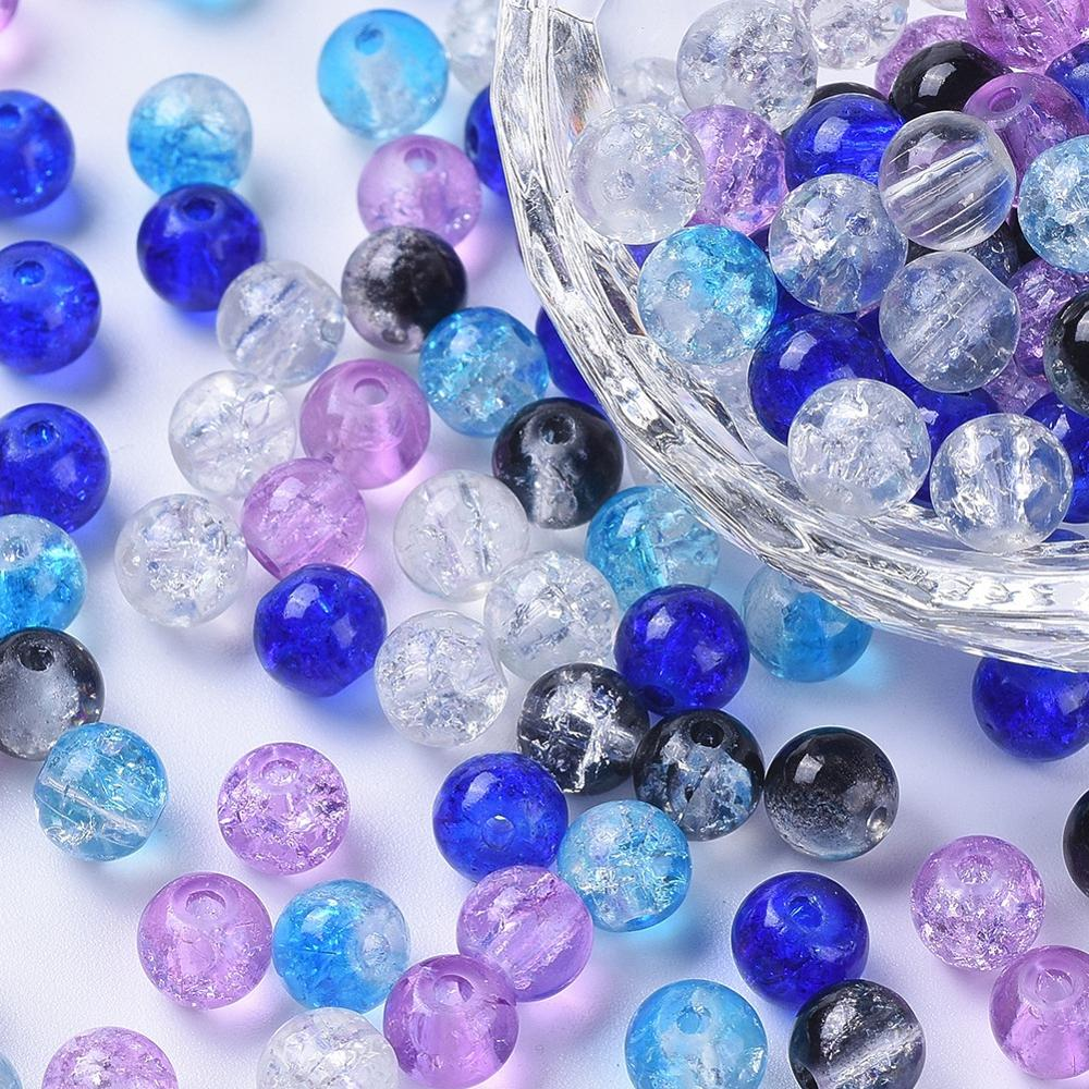 400pcs//bag Baking Painted Crackle Glass Round Jewellery Beads Mixed Color 4mm