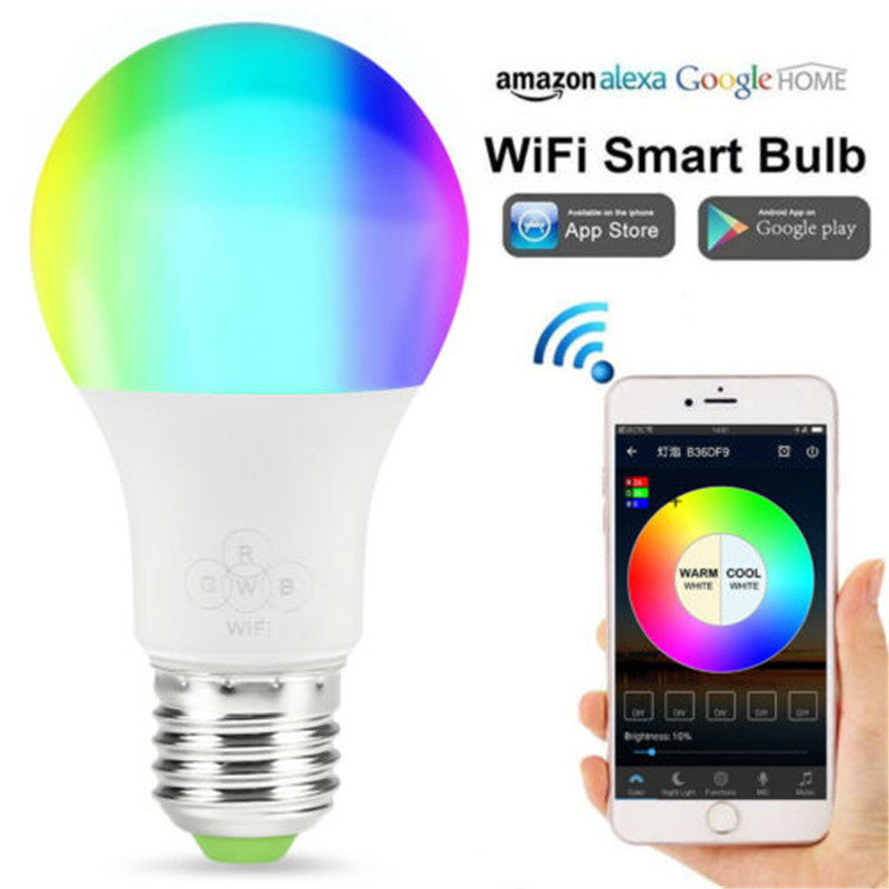 E27 LED Smart House Light Bulb RGB WiFi Lamp Bottle Ampoule For Phone APP Remote Control Dimmable Multicolor Auto Flame Lamps