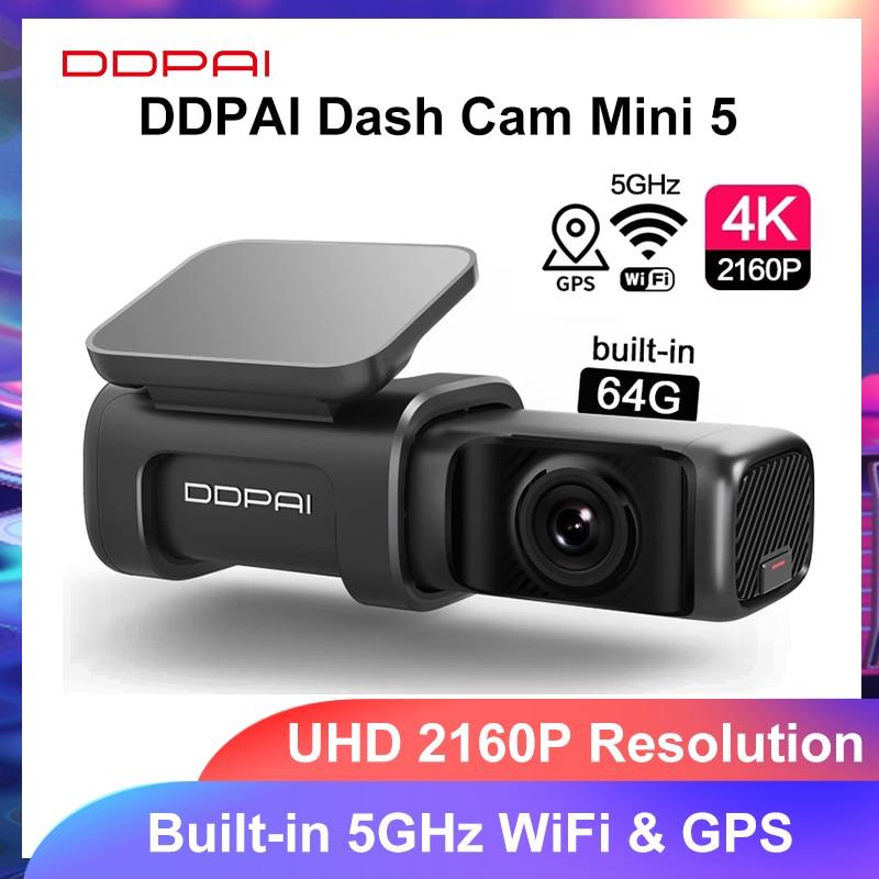 【04ESOW6】DDPAI-Cámara de salpicadero Mini 5 UHD DVR para coche, Android, 4K, Wifi integrado, GPS, aparcamiento 24H, 2160P, grabador de vídeo para vehículo, Mini5