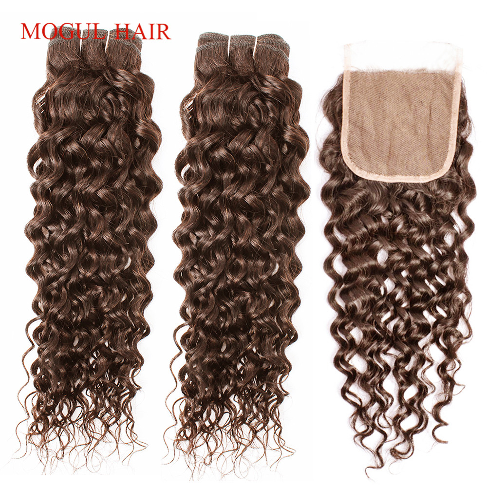 MOGUL HAIR Brazilian Water Wave Bundles With Closure 14-24 Inch Chocolate Brown Color 4 Pre-Colored Non-Remy Human Hair Weave