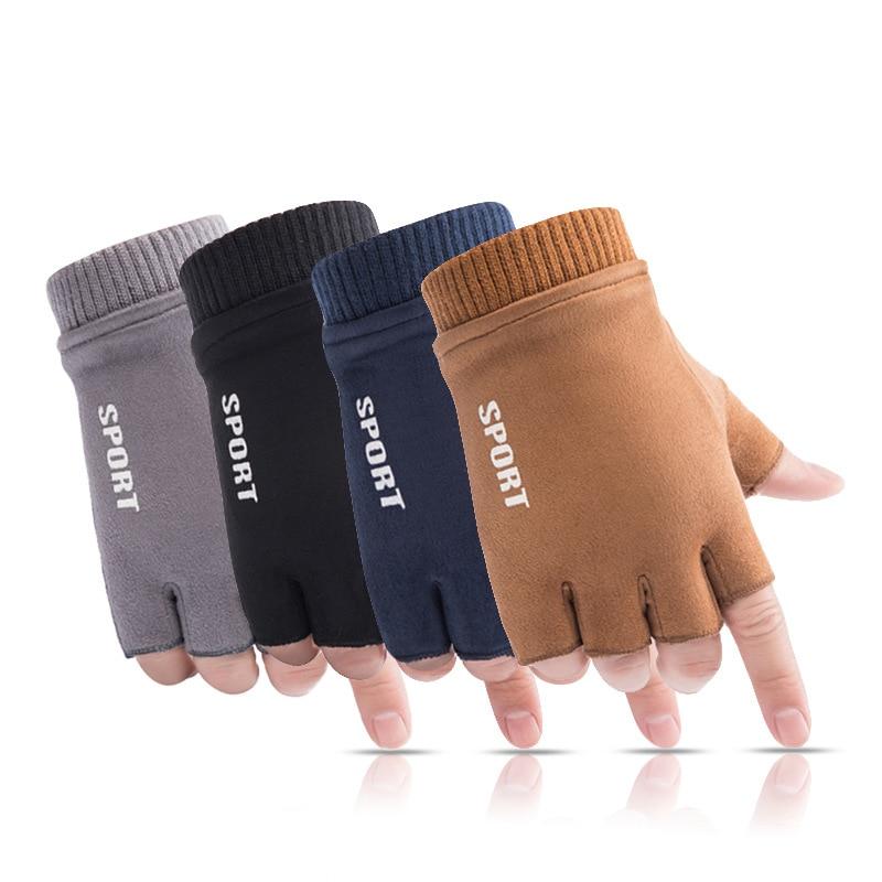 2019 Winter Gloves Men Fingerless Gloves Suede Leather Driving Writing Glove Men Designer Warm Students Gloves Handschoenen