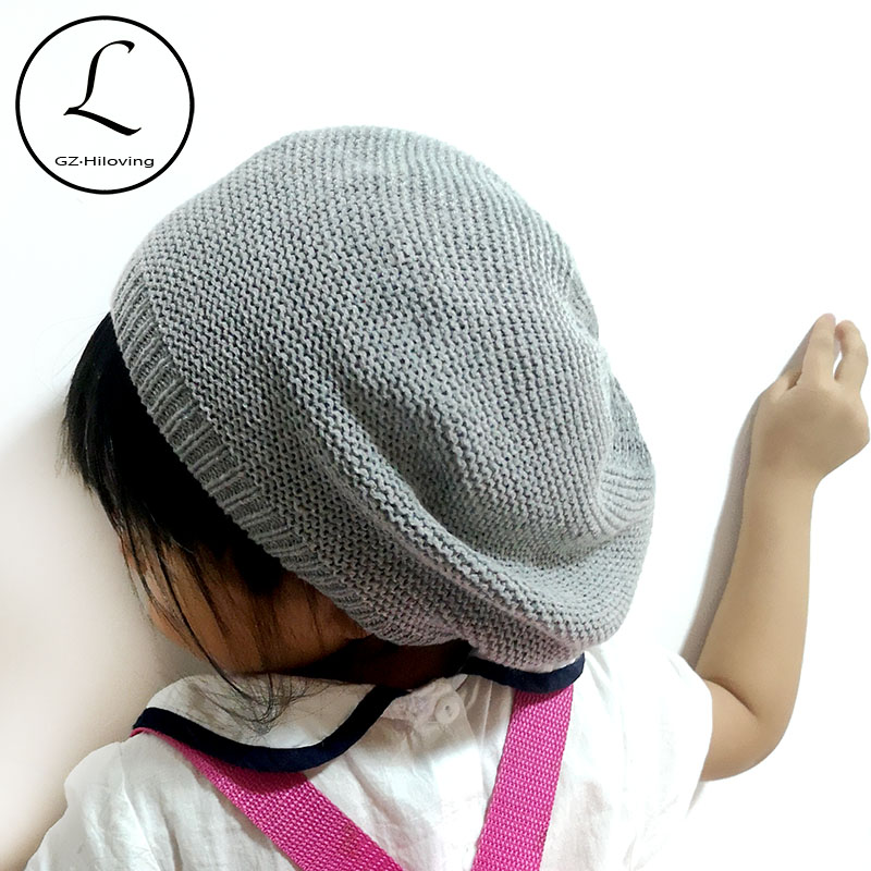 Butterfly Star Girl Baby Beanies Caps Knit Hat Gray