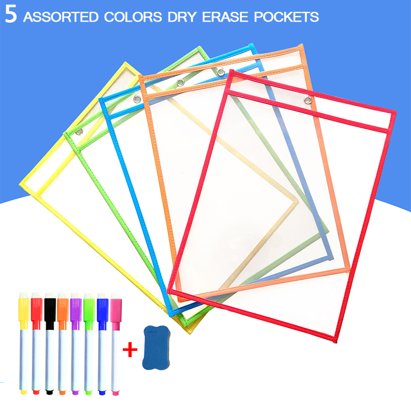 Dry Erase Pockets Sleeves Reusable Transparent PP File With Pen Write Wipe Drawing Whiteboard Markers Used for Teaching Supplies
