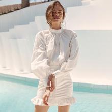 2019 new arrival women dresses autumn long sleeve Ruffle back hollow femme mini dress vestidos