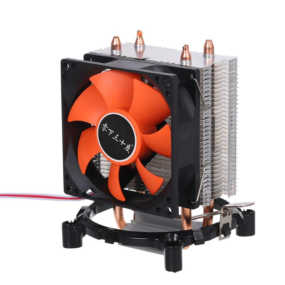 Hidráulica Fãs Cooler Heatpipe Tranquila Dissipador de Calor Do Radiador Dois Bons Tubos De Calor de Cobre para a Plataforma Intel Core AMD Sempron