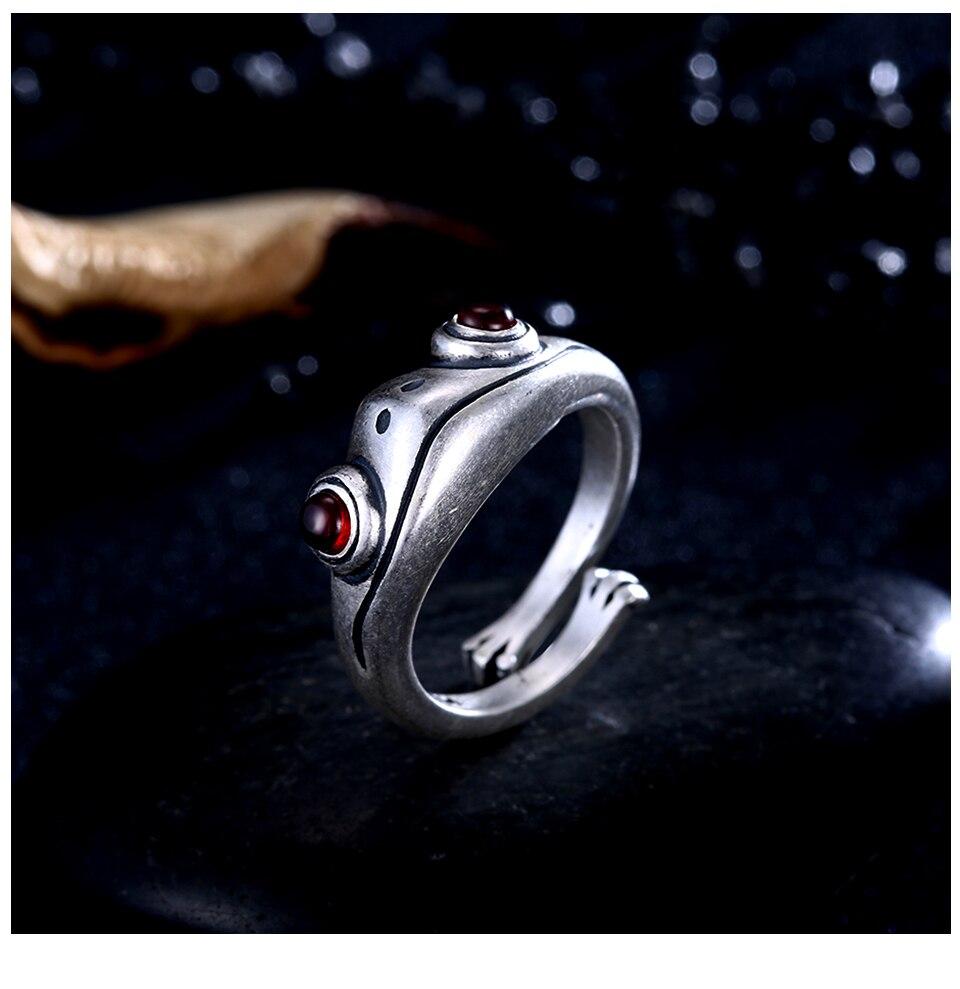 Hd9462154024d4ea3aa4aea3e4f75249bT Frog Ring Cute Retro Personality Creative Animal Unisex Red Garnet Stone Adjustable