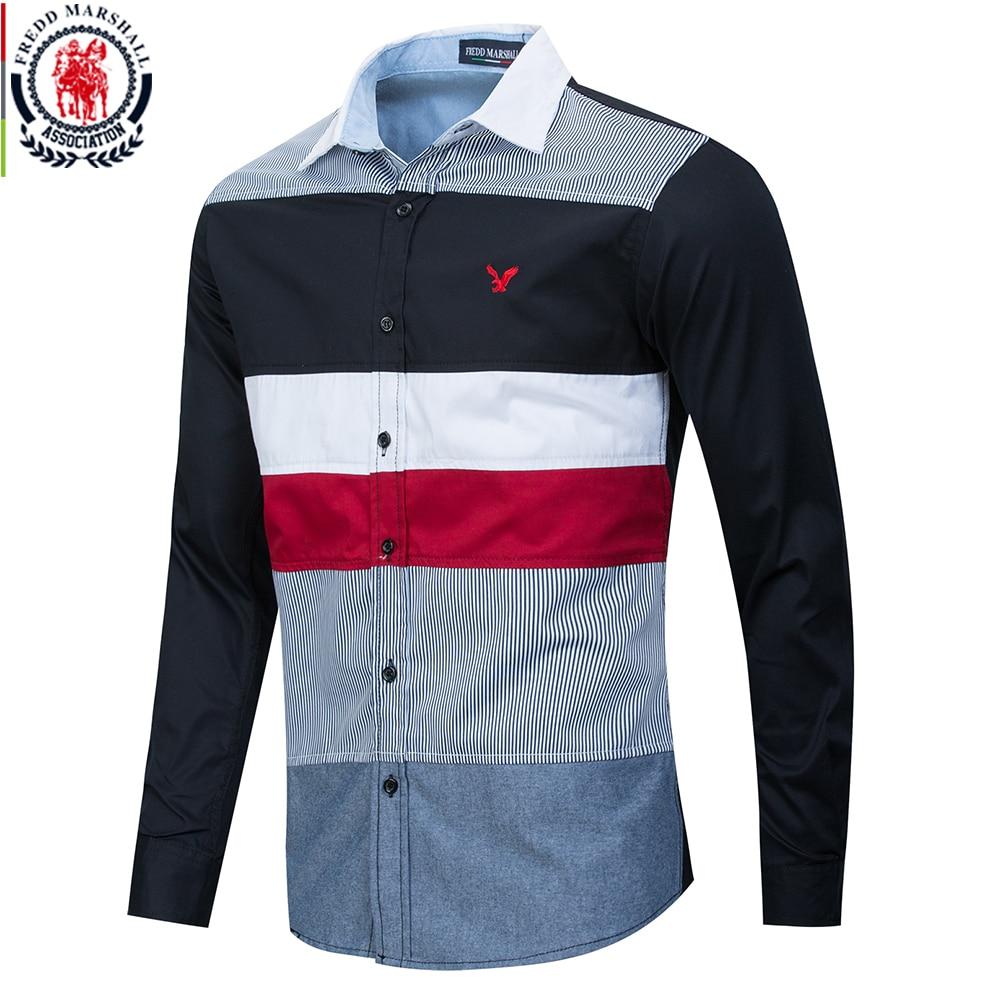 Fredd Marshall 2020 Spring New Patchwork Shirt Men Casual Social Long Sleeve Dress Shirt Male 100% Cotton Color Block Shirts 215Casual Shirts   -