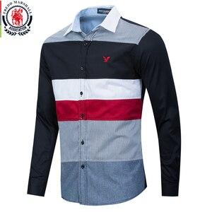 Image 1 - Fredd Marshall 2020 Spring New Patchwork Shirt Men Casual Social Long Sleeve Dress Shirt Male 100% Cotton Color Block Shirts 215