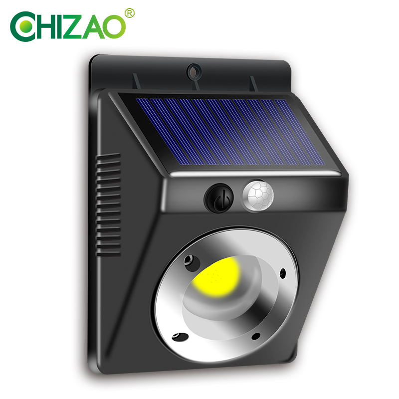 CHIZAO Solar light Outdoor wall lamp Human motion sensing lighting IP65 waterproof Applied to Front door Garage Fence Yard etc