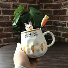 Coffee Mug Cup Korean Cute Cartoon Rabbit Ceramic Cup With Spoon  Carrot Breakfast Milk Tea Mugs Breakfast Cup Drinkware Gifts cartoon cute cup ceramic about 350ml mug breakfast coffee milk cup couple drinking cup creative student with cup handgrip mugs