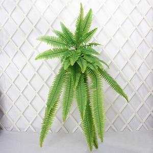 Image 5 - 140cm tropical planta de suspensão grande artificial samambaia grama bouquet folhas de plástico folha verde parede falso ramo árvore para decoração casa