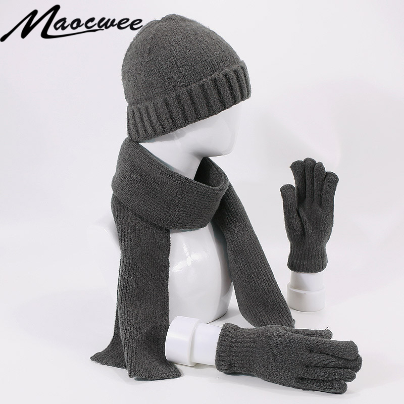 Three-Piece Hat Scarf Warm Gloves Fashionable Men's And Women's Suits For Winter And Autumn Knitted Striped Hats With Lining