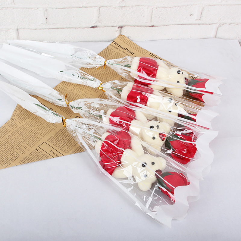 1pc Romantic Valentine's Day Creative Gifts Bear Rose Flower Soap Cartoon Bouquet Party Wedding Decoration