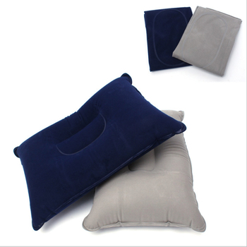 1PC Portable Inflatable Pillow Travel Air Cushion Double Sided Flocking Cushion Camp Beach Car Plane Hotel Head Rest Bed Sleep image