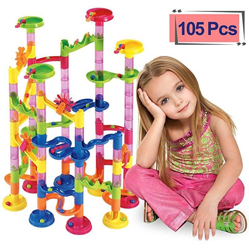 105PCS Marble Run Maze Balls Track Building Blocks Toys For Children Construction Marble Race Run Pipeline Block Educational Toy