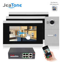JeaTone 720P WIFI IP Video Door Phone Intercom System 3pcs monitors for 1pcs out doorbell support iOS/Android APP Remote Unlock